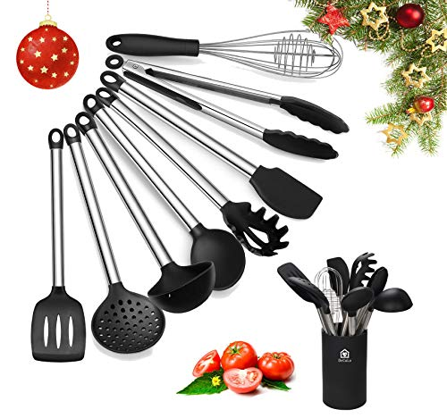 DeCuLo Kitchen Utensil Set with Holder - 8 Piece Cooking Utensils Silicone Cooking Utensils Set with Holder Rubber Utensils for Cooking