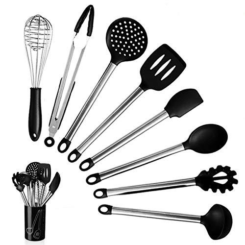 Allinone Utensil Set 9 Packs- Set Stainless Steel Cooking Utensils Silicone Spatula Set with Kitchen Utensil Holder Non-Stick
