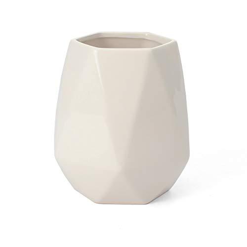 Ceramic Utensil Holder - Kitchen Utensil Holder - Utensil Crock - Utensil CaddyContainer - Milltown MerchantsTM Faceted White Utensil Holder
