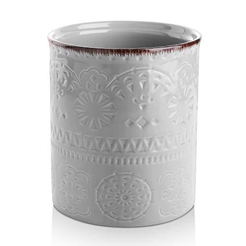 DOWAN Utensil Holder Ceramic Kitchen Utensil Holder with Cork Mat Embossed Utensils Holder Grey