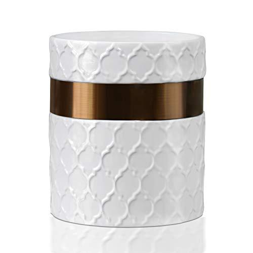 Utensil Holder-6 x 7 Jumbo Utensil Holder Caddy-Large Kitchen Utensil Holder White Ceramic Modern Farmhouse Kitchen Decor-Utensil Crock with Stainless Steel Antique Copper Strip-by Home Acre Designs