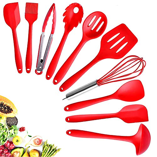 Kitchen Silicone Utensil Cooking SetHeat-Resistant 10 Kitchen Utensil Non-Stick Spatula Set Cooking ToolsPieceTurner Whisk SpoonBrushspatula Ladle Slotted turner Best Kitchen Tools Gift Red
