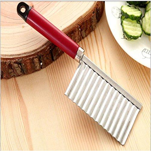 BinmerTM Potato Wavy Cutter Wavy Edged Tool Stainless Steel Kitchen Gadget Cucumber Vegetable Fruit Cutting Red