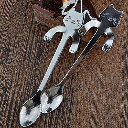 Hongxin Coffee&Tea Spoon Mini Cat Long Handle Creative Spoon Drinking Tools Food Grade Stainless Steel Kitchen Gadget Flatware Tableware silver