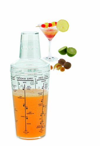 Westmark Cocktail Shaker With Measuring Cup Lid And 6 Cocktail Recipes, 0.5 L Acryl