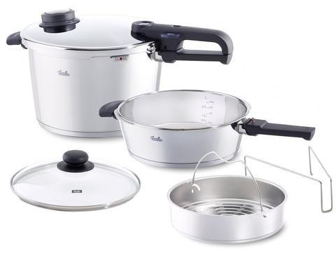 Fissler Vitavit Large 6 Piece 85 Quart and 42 Quart Premium Pressure Cooker Set