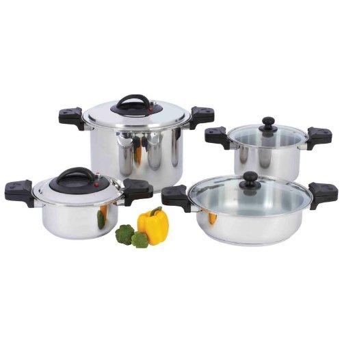 Precise Heat 8pc Waterless 12-Element Stainless Steel Low-Pressure Pressure Cooker Set