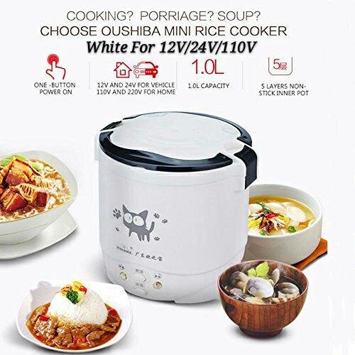 Hot Sales 3 Cups 1-2 People Steam Rice Cooker 12V24V110V Mini Electric Rice Cooker For CarTruckHome 110V White