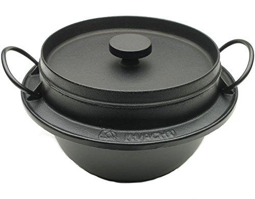 Iwachu 410-720 Japanese Cast Iron Gohan Nabe Rice Cooker Black
