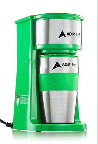 AdirChef Grab N Go Personal Coffee Maker with 15 oz Travel Mug Green
