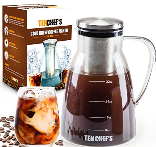 ONE DAY SALE - Cold Brew Coffee Maker and Tea infuser - 32OZ - Premium Glass pitcher with lid Stainless Steel FilterPerfect For Homemade Cold Brew and Iced CoffeeEasy to clean and wash by Tenchefs