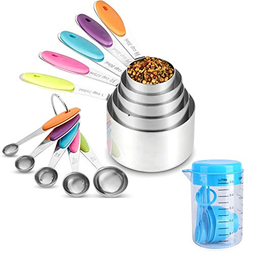 10 Pcs Measuring Scoops Stainless Steel Measuring Cups and Spoons Set Bundle with 7-Piece Sky Blue Plastic Measuring Cup and Spoon Set Different Sizes for BakingCoffeePowder Use