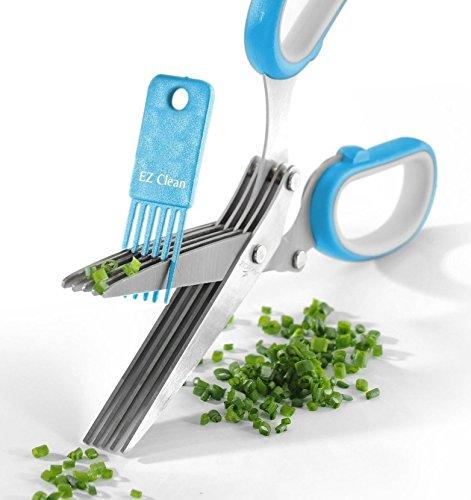 Herb Scissors Best Quality - Easy Clean Multipurpose 5 Stainless Steel Blades Kitchen Shears - Ergonomic Design