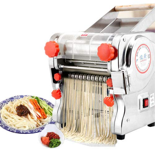 110V Electric Pasta Maker Machine Noodle Cutter Machine Pasta Roller and Cutter Set Perfect for Spaghetti Fettuccini Lasagna or Dumpling Skins Heavy Duty Steel Construction 110V Pasta Maker