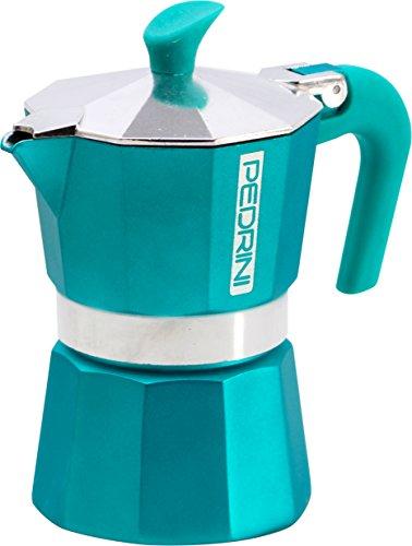 Pedrini 1 Cup Espresso Coffee Pot Türkis GreenBlue
