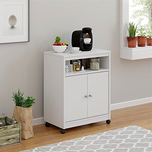 Dorm Microwave Cart Wooden White Small Commercial Kitchen Microwave Oven Cart with Wooden Top and Wheels with Shelves for Storage E-Book