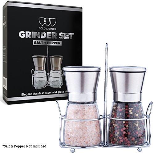 Salt and Pepper Shakers - Salt Pepper Grinder Set Mill Adjustable Coarseness Premium Brushed Stainless Steel Great Gift Set
