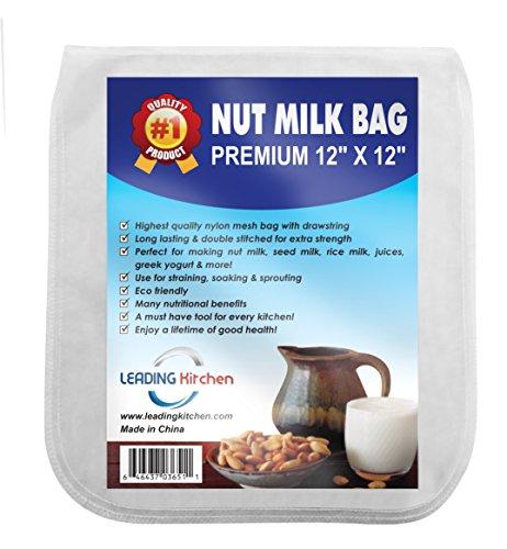 "Large Nut Milk Bag - Best All Purpose Reusable 12"" X 12"" Fine Nylon Mesh Strainer - Organic Almond Milk - Juices"