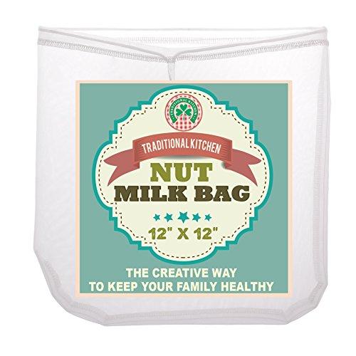 Traditional Kitchen Nut Milk Bag - Strainer & Cheesecloth Food Grade - Almond Milk, Yogurt And Juice Maker - Cold
