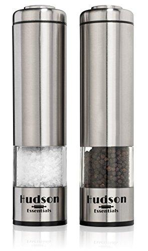 Hudson Electric Salt and Pepper Grinder Set - Ceramic Blade Stainless Steel Construction - Set of 2 Automatic Mills
