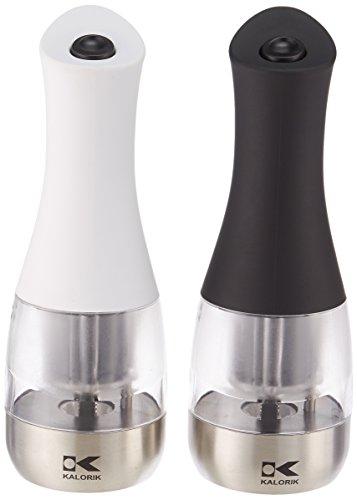 Kalorik PPG 40741 SET WBK Contempo Black and White Electric Salt and Pepper Grinder Set Small WhiteBlack