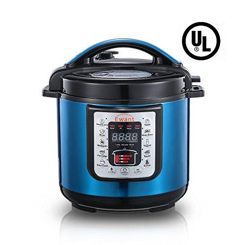 Ewant 9-in-1 Multi-functional Electric Pressure Cooker Pressure Cooker Slower Cooker Digital Stainless Steel Pressure Cooker Rice Cooker 6 Quart1000W Blue