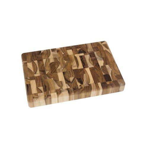Lipper International 7218 Teak Wood End Grain Kitchen Chopping Block and Cutting Board Small 12 x 8 x 1-14