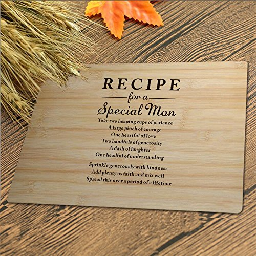 Custom Engraved Cutting Board Mothers Gift Recipe for a Special Mom Bamboo Serving Cutting Board for Mothers Day Birthday
