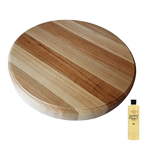 HomeProShops Round Wood Butcher Block Cutting Board - 1-12 T x 18 ROUND - w Raised Edge and John Boos MYSB Mystery Oil 16 oz Bottle Included - Solid Maple Reversible