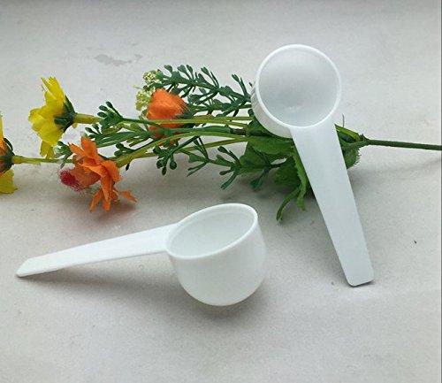 Lautechco 20pcs 10ml  5g Medical Grade white Plastic KitchenCooking Measuring SpoonsScoop