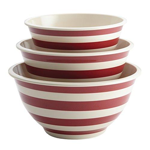 Paula Deen Pantryware Melamine Mixing Bowl Set 3-Piece Striped Red