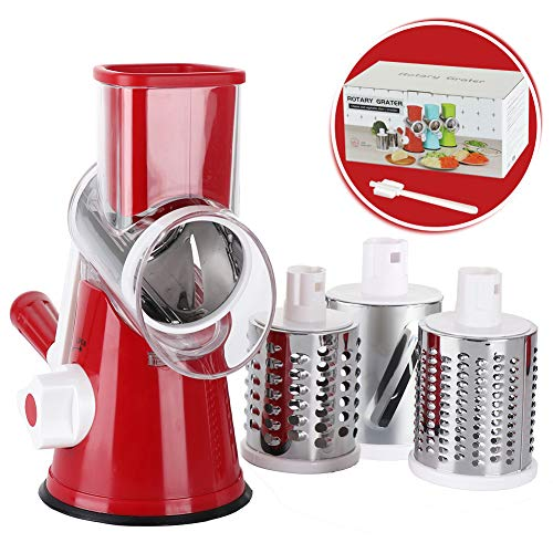 Cambom Rotary Cheese Grater Shredder Chopper Round Tumbling Box Mandoline Slicer Nut Grinder Vegetable Slicer Hash Brown Potato with Strong Suction Base With FDA Certification