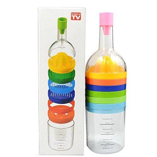 Magic Multi Functional 8 in 1 Kitchen Tool Bottle -Citrus Orange Squeezer Funnel Seasoning Grinder Cheese Grinder Bottle Opener Utensil for Taking Yolk Kitchen Gadget Home Use by Pixco
