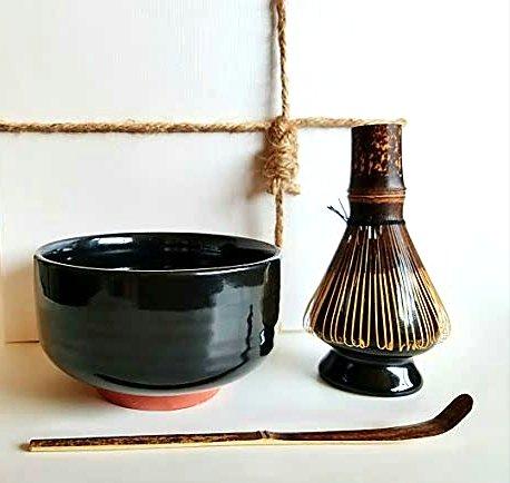 HARU MATCHA - Complete Matcha Tea Ceremony Gift Set Black - Matcha Chawan Bowl Bamboo Scoop Chashaku Bamboo Whisk 100 tate and Whisk Holder