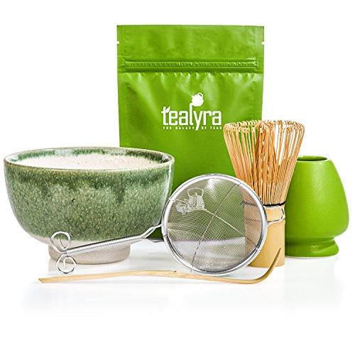 Tealyra - Matcha Tea Ceremony Start Up Kit - Complete Matcha Green Tea Gift Set - Premium Matcha Powder - Japanese Made Green Bowl - Bamboo Whisk and Scoop - Holder - Sifter - Gift Box