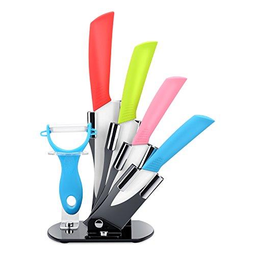 Ceramic Knife Set Yuteea 6 Piece Kicthen Knife Set and Vegetable Peeler Set with Adjustable Holder Stand