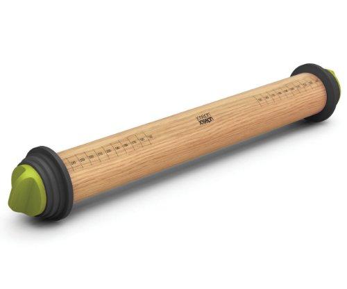 Joseph Joseph 165-Inch Adjustable Wood Rolling Pin Grey