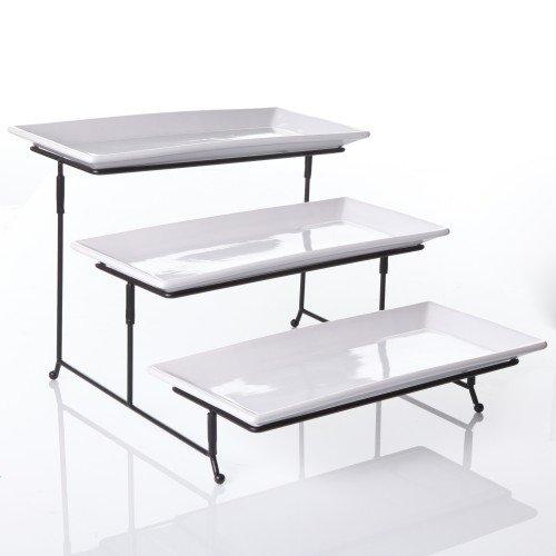 ChefLand 3 Tier Rectangular Serving Platter Three Tiered Cake Tray Dessert Stand Food Server Display Plate Rack White