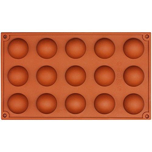 Funshowcase 15 Cavity Semi Sphere Half Round Dome Silicone Mold Chocolate Teacake Baking Tray