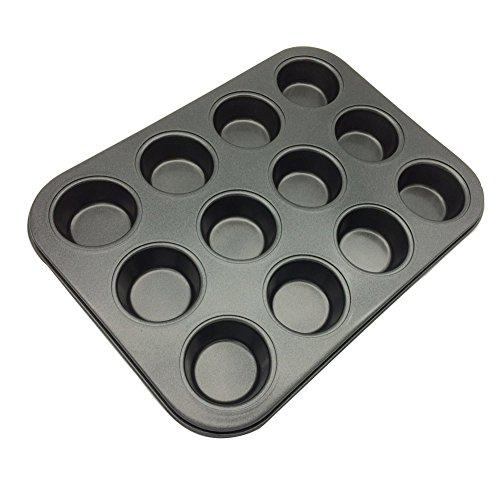 12-Cup Mini Cake Egg Tart Mold Muffin Cupcake Baking Pan1 Pack Carbon Steel