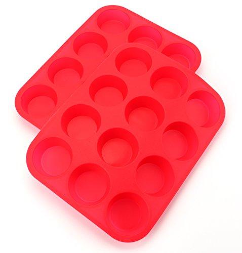 Bekith 12 Cup Large Silicone Muffin Pans Cupcake Baking Pan  Non - Stick  Dishwasher - Microwave Safe Set of 2