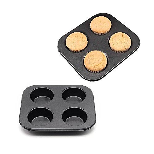 MZCH Non-stick Muffin Pan 4 Cups Cupcake Baking Pans Mini Cake Baking Mold Black