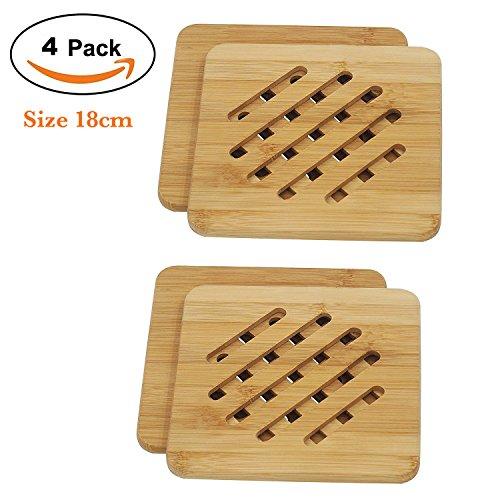 Bamboo Trivet Mat Set Bamboo Hot Pot Holder Pads Non-Slip Hot Pot Holder 4 Square
