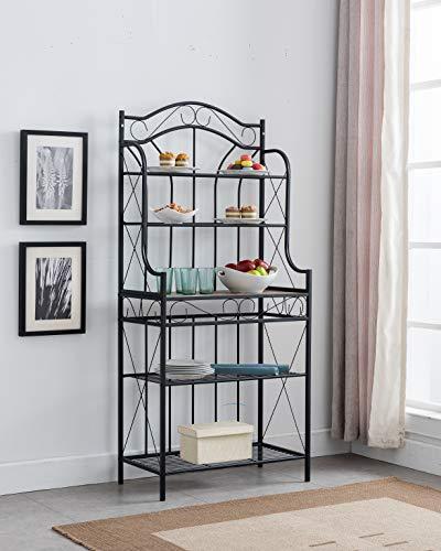 Kings Brand Furniture - Black MetalFaux Stone 5-Tier Kitchen Storage Bakers Rack