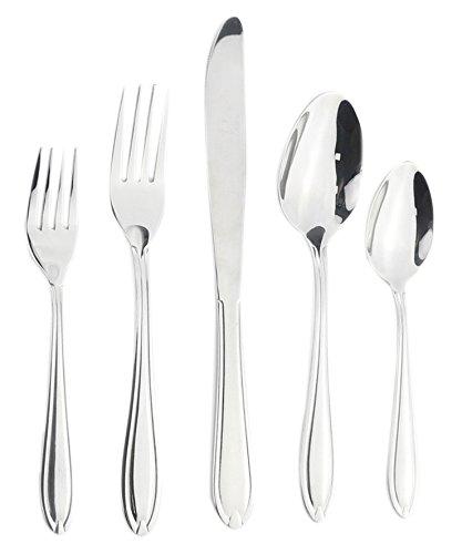 Melange Tuscany Stainless Steel Flatware Set 20-Piece  Service of 4  Dishwasher Safe Metal Kitchen Silverware Sets  Elegant Knives Forks and Spoons