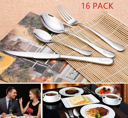 WOAIWO-Q Silverware Set Stainless Steel - Elegant Flatware Set of 16 Pieces – Eating Utensils for 4 People - Modern Cutlery Kit of Dinner Forks Spoons Knives Dessert Spoons