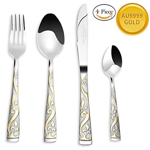 Benry 24K Gold-Plated Silverware Set 1810 Stainless Steel Flatware Set Gold Flatware Cutlery Set Forks Spoons Knives set1 Set