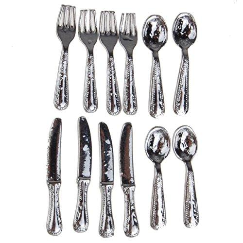 12 Pcs Stainless Steel Tableware Set 112 Dollhouse Miniature
