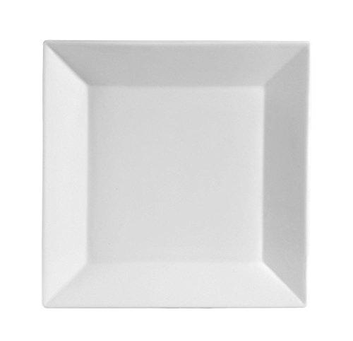 CAC China KSE-16 Kingsquare 10-Inch Porcelain Square Plate Super White Box of 12