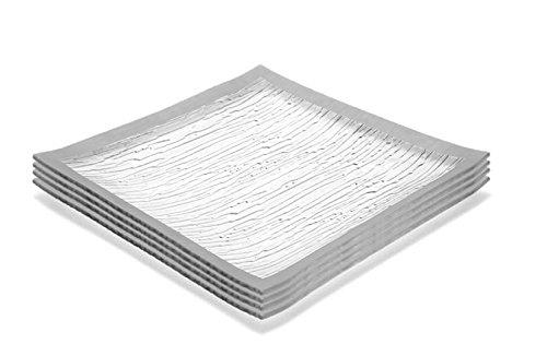 GAC Set of 4 Elegant Tempered Glass Dinner Plates Square Glass Plate 115 Inch Break and Chip Resistant – OvenMicrowave Safe – Dishwasher Safe – Decorative Silver Border